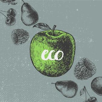 Ilustracja rocznika żywności. ręcznie rysowane baner, karta, ulotka. owoc w stylu grawerowanym, napis eko