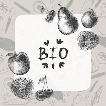 Ilustracja rocznika żywności. ręcznie rysowane baner, karta, ulotka z wzorem. ramka z wygrawerowanymi owocami i jagodami