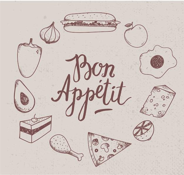 Ilustracja rocznika żywności. wyciągnąć rękę. grawerowane ilustracja do restauracji, kawiarni.
