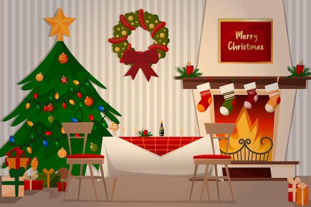 Ilustracja rodzinnego obiadu. kominek, choinka, świąteczny stół i prezenty.
