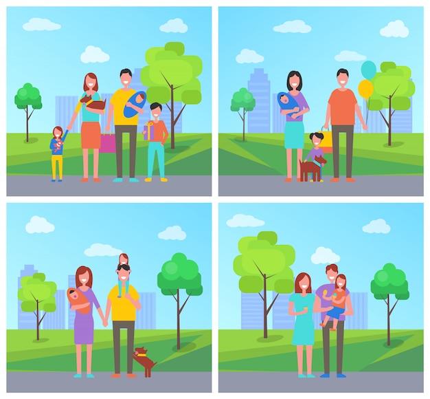 Ilustracja rodziny ojca i matki dziecka