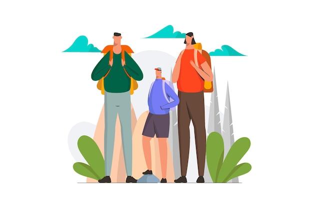 Ilustracja rodziny poszukiwaczy przygód