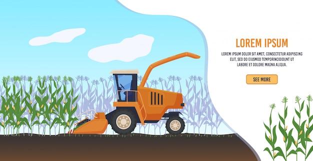 Ilustracja rolnictwa rolnictwa. kreskówka płaski rolniczy ciągnik rolniczy lub rolnicy pracujący kombajn zbożowy, zbierając organiczną kukurydzę w krajobrazie pola uprawnego, transparent agronomii ekologicznej