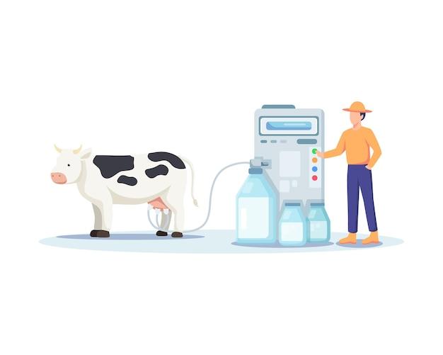Ilustracja rolnika dojenie krowy. nowoczesna i wyrafinowana koncepcja hodowli, dojenie krów za pomocą dojarki. człowiek obsługujący maszynę, świeże produkty mleczne. ilustracja wektorowa w stylu płaski