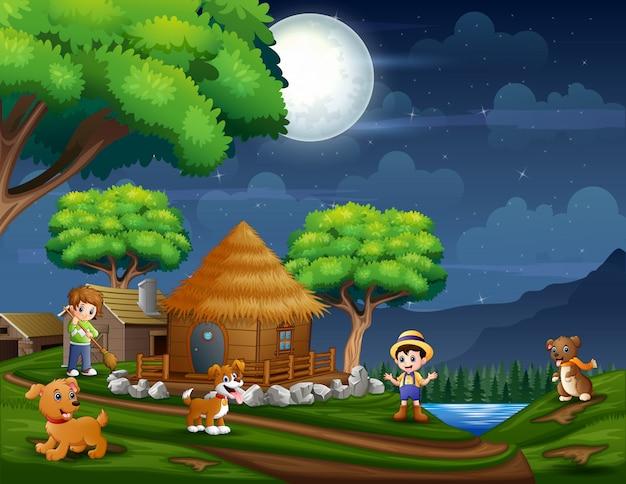 Ilustracja rolnika na ziemi uprawnej w nocy