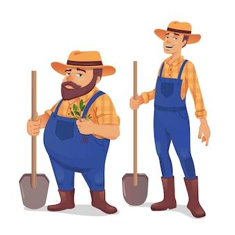 Ilustracja rolników z łopatami i sadzonką