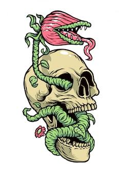 Ilustracja rośliny czaszki i potworów