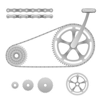 Ilustracja roweru z przekładnią łańcuchową z pedałem