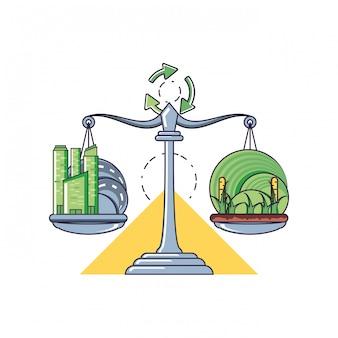 Ilustracja równowagi i zrównoważonego rozwoju