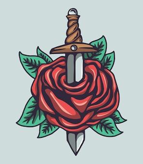 Ilustracja róż i noża