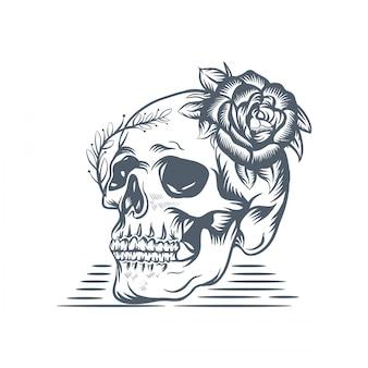 Ilustracja róża czaszki