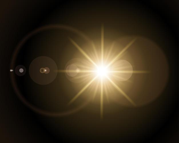 Ilustracja rozbłysku słonecznego. jasna gwiazda