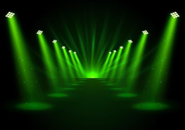 Ilustracja rozjarzeni zieleni światła reflektorów