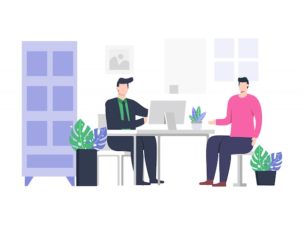 Ilustracja rozmowy kwalifikacyjnej 2 osób.