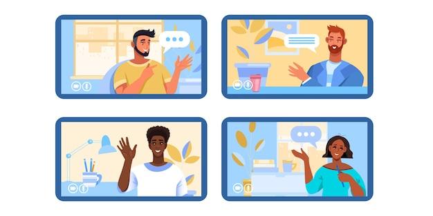 Ilustracja rozmowy wideo lub konferencji z różnymi osobami pracującymi zdalnie w domu jako zespół