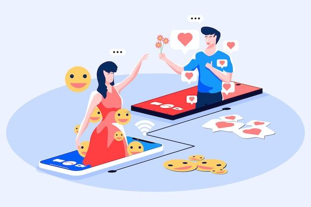 Ilustracja rozmowy wideo mediów społecznościowych