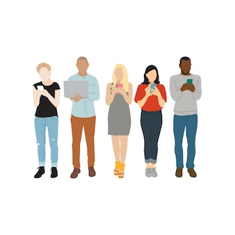 Ilustracja różnorodni ludzie używa cyfrowych przyrząda