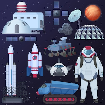 Ilustracja różnych elementów statku kosmicznego, astronauta w skafandrze kosmicznym, budynki kolonizacyjne, statek kosmiczny satelitarny, rakieta i łazik marsjański.
