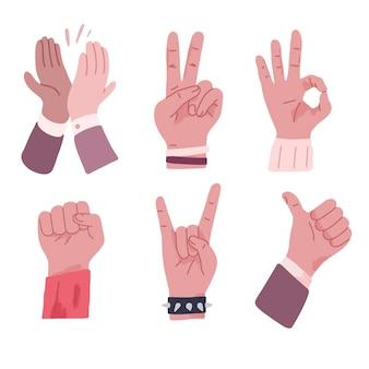 Ilustracja różnych rodzajów rysunków dłoni i palców