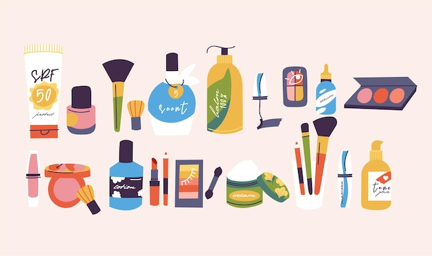 Ilustracja różnych składu produktów kosmetycznych