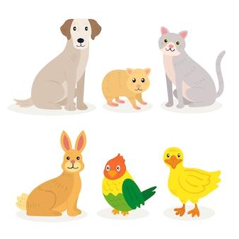 Ilustracja różnych zwierząt domowych