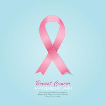 Ilustracja różowa wstążka świadomości raka piersi