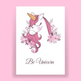 Ilustracja różowy jednorożec na plakat