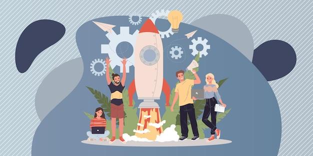 Ilustracja rozpoczęcia projektu biznesowego