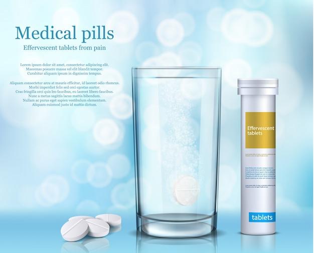 Ilustracja rozpuszczalnych okrągłych tabletek w szklance wody i białym cylindrycznym pojemniku.