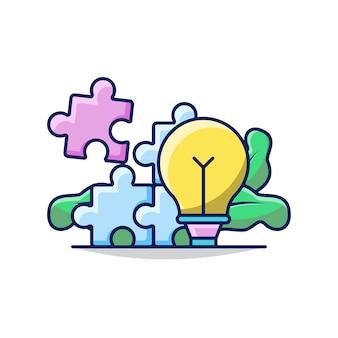 Ilustracja rozwiązania biznesowego z żarówką i układanką