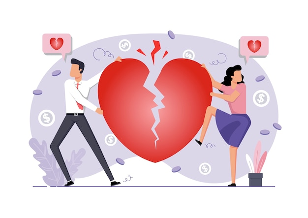 Ilustracja rozwodu para i złamane serce