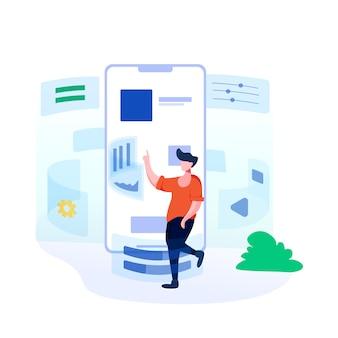 Ilustracja rozwoju aplikacji mobilnych w stylu płaski