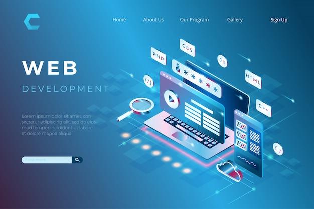 Ilustracja rozwoju strony internetowej z programowaniem i kodowaniem, laptop z wirtualnymi interaktywnymi ekranami w stylu izometrycznym