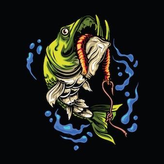 Ilustracja ryba wędkarza