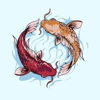 Ilustracja ryby japońskie