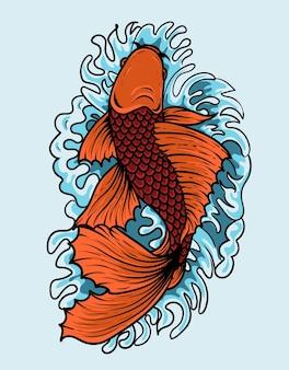 Ilustracja ryby koi w stylu japońskim vintage
