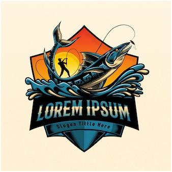 Ilustracja ryby skaczące, aby złapać przynętę, logo wędkarstwa