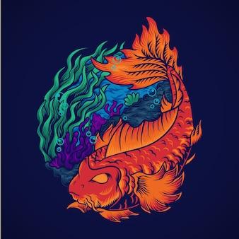 Ilustracja ryby yinyang