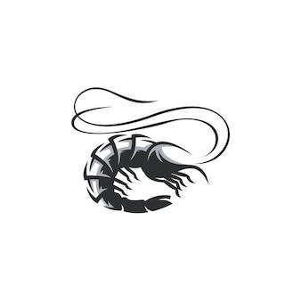 Ilustracja rysunek krewetki na białym tle