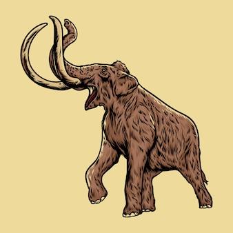 Ilustracja rysunek mamuta