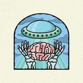 Ilustracja rysunek odręczny z szorstkiej grafiki liniowej, koncepcja płaszczyzny kosmitów znalezienie mózgu człowieka