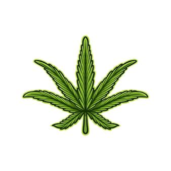 Ilustracja rysunek wektor liść marihuany