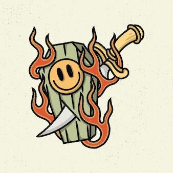 Ilustracja rysunek z szorstką grafiką liniową, koncepcja śmiertelnego uśmiechu w stylu tatuażu