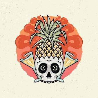 Ilustracja rysunek z szorstkiej grafiki liniowej, pojęcie czasu letniego z rysunkiem ananasa głowy czaszki i kieliszek wina