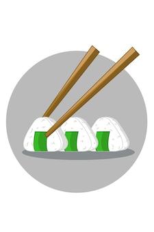 Ilustracja ryżu sushi