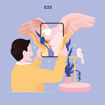 Ilustracja rzeczywistości rozszerzonej i rzeczywistości wirtualnej