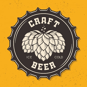Ilustracja rzemiosła butelki piwa nakrętka z chmielem