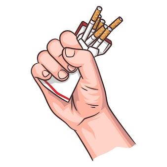 Ilustracja rzucenia palenia, ręka ściskająca paczkę papierosów