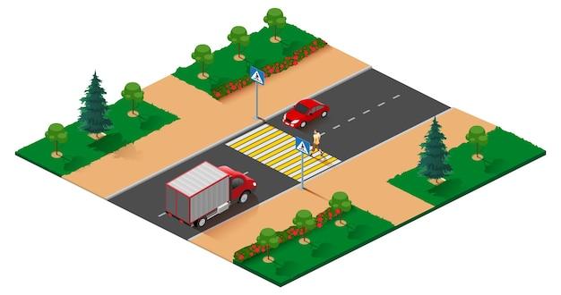 Ilustracja rzut izometryczny drogi dla pieszych. mężczyzna chodzi po zebrze. ilustracja kreskówka