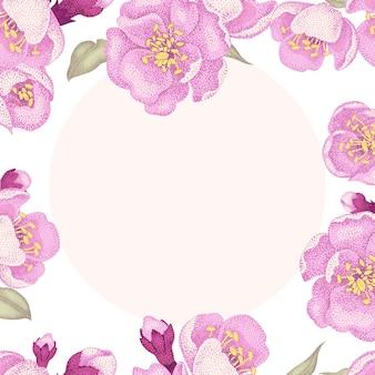 Ilustracja sakura kwiatów rama